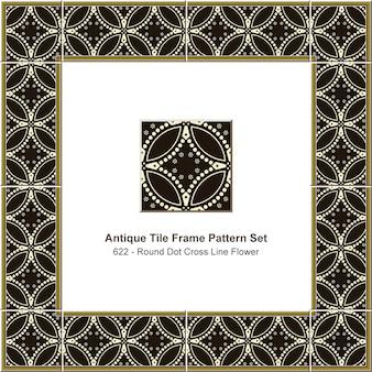 アンティークタイルフレームパターンセットラウンドカーブクロスドットライン花、セラミック装飾。