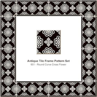 アンティークタイルフレームパターンセットラウンドカーブクロスフラワー、セラミック装飾。
