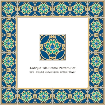 アンティークタイルフレームパターンセットラウンドカーブクロススパイラルフラワー、セラミック装飾。