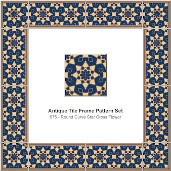 アンティークタイルフレームパターンセットラウンドカーブスタークロスフラワーゴールドアウトライン、セラミック装飾。