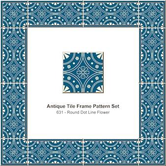 アンティークタイルフレームパターンセットラウンドドットライン花、セラミック装飾。