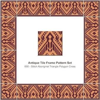 Antique tile frame pattern set stitch aboriginal triangle polygon cross geometry, ceramic decoration.