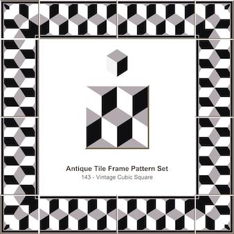 Набор старинных плиток рамы винтаж черный белый кубический квадрат