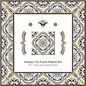 Набор старинных плиток рамы желтый синий спиральный цветок