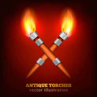 Antique torches realistic
