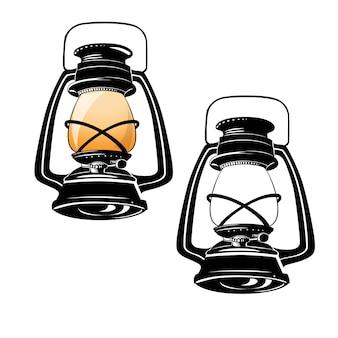 アンティークの伝統的なランプのヴィンテージのイラスト
