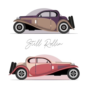 Antique vehicle colorful vector flat