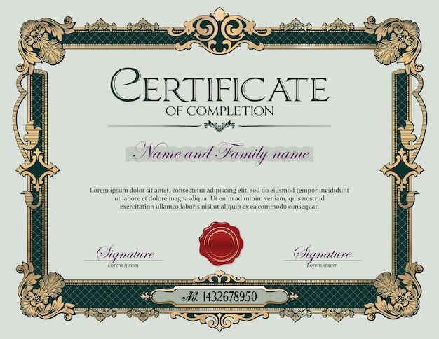 Antique vintage ornament frame certificate of completion