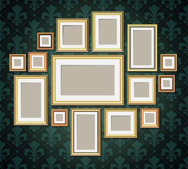 Antique vintage wooden photo frames collection