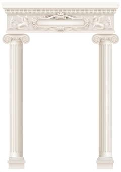 Античная белая колоннада со старыми колоннами