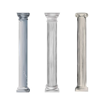 Antique white columns from splash of watercolors colored drawing realistic