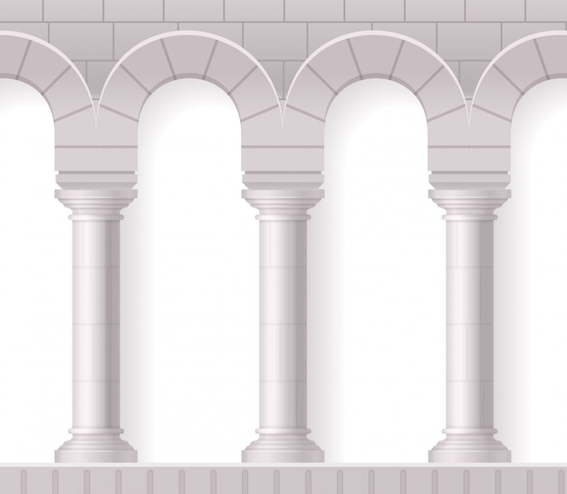 Antique white columns realistic composition with classic architectural shapes and brick texture on blank