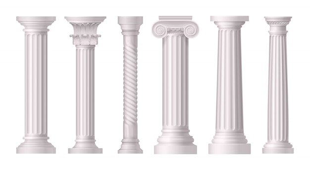Antique white columns realistic set with different styles of greek architecture