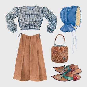 パブリックドメインのコレクションからリミックスされたアンティークの女性のファッションベクトル衣装デザイン要素セット