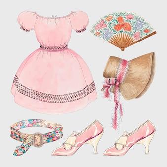 パブリックドメインコレクションからリミックスされたアンティークの女性のファッションベクター衣装デザイン要素セット