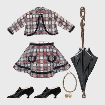Set di elementi di design per abiti di moda vettoriali da donna antichi, remixati dalla collezione di pubblico dominio