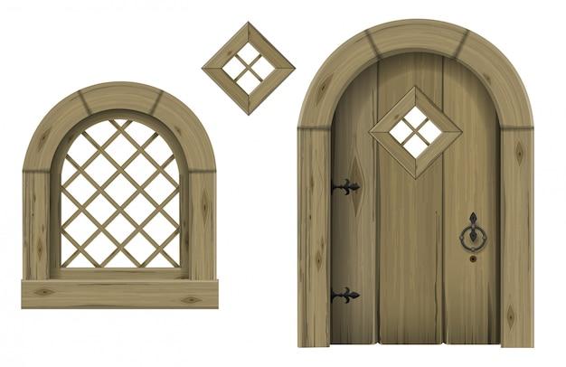 アンティーク木製のアーチ型のドアと窓