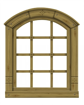 Antique wooden arched window fantasy scandinavian gothic