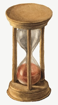 Antique wooden hourglass  illustration watercolor, remixed from the artworks by mary vaux walcott