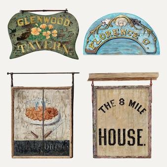 Набор элементов дизайна вектора вывески антикварного деревянного магазина, ремикс из коллекции общественного достояния
