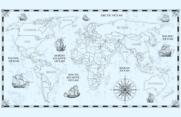 Antique world map with countries boundaries and ships