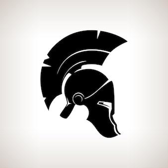 羽の紋章または目と口のためのスリットのある馬の毛を持つ頭の保護兵士のためのアンティークのローマまたはギリシャのヘルメット、ベクトル図