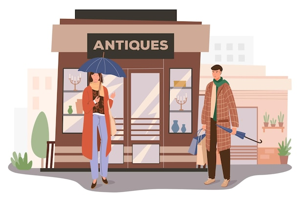 骨董品店の建物のウェブコンセプト。ヴィンテージグッズを扱う店の入り口に立っている男女。買い物をするお客様