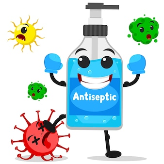 Antiseptic in boxing gloves defeats the bacteria virus. the character