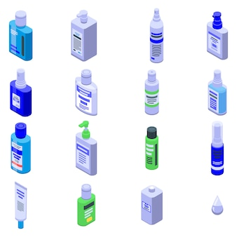 Antiseptic icons set, isometric style