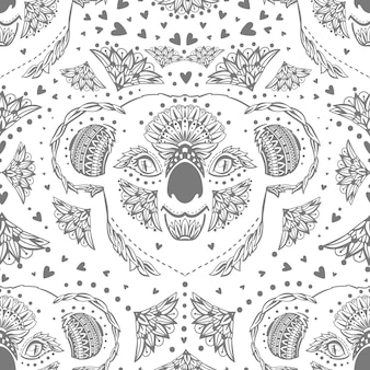 Antistress freehand sketch drawing of koala with doodle and zentangle elements. coloring pages