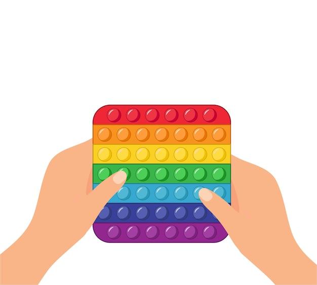 Антистрессовая игрушка сенсорная хлопает в руке векторные иллюстрации.