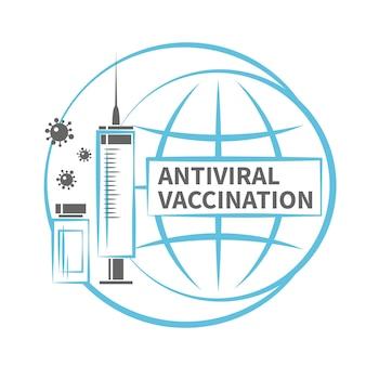 抗ウイルスワクチン接種アイコン世界を背景にしたワクチンの注射器ボトル