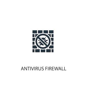 ウイルス対策ファイアウォールアイコン。シンプルな要素のイラスト。ウイルス対策ファイアウォールの概念のシンボルデザイン。 webおよびモバイルに使用できます。