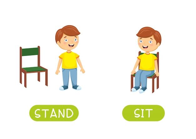 Антонимы и противоположности стоят и сидят. иллюстрация персонажей из мультфильма на белом.