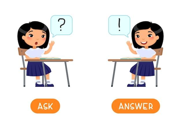 Concetto di contrari chiedere e rispondere carta di parole opposti educativi scheda flash per lo studio dell'inglese
