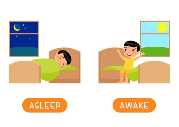 반의어 개념, asleep 및 awake. 반대와 교육 단어 카드.