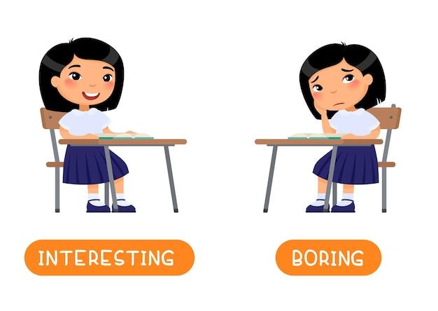 Concetto di antonimi carta di parole educative interessante e noiosa con flash card di opposti