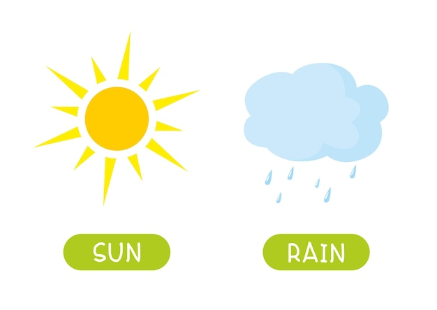 Antonyms concept, sun and rain. educational flash card template. word card for english language learning with opposites.