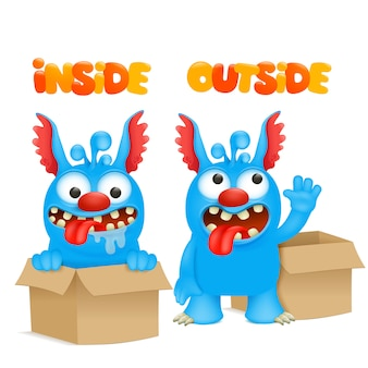 Antonyms and opposites. cartoon monster character cards for learning english language. inside and outside