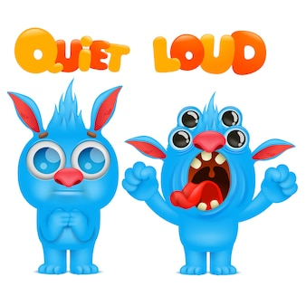 Antonyms and opposites. cartoon monster character cards for learning english language. quiet and loud