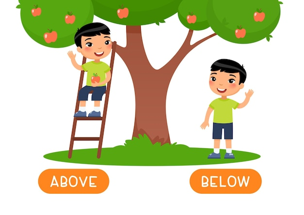 Above and below antonyms word card, opposites concept.