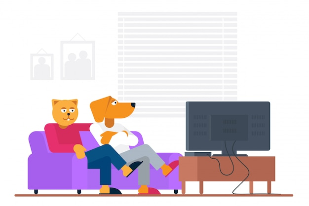 Antropomorphic people style funny cat and dog buddy sitting on sofa and watching movie on tv at home  illustration