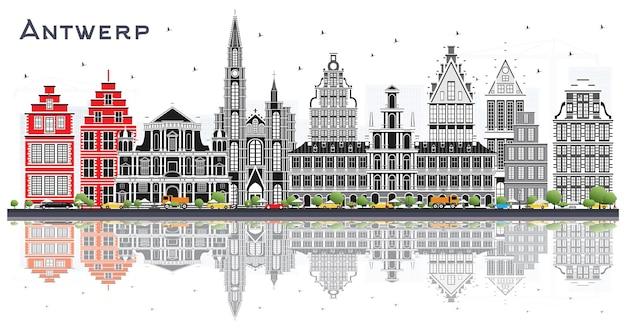 회색 건물과 반사 흰색 벡터에 고립 된 앤트워프 벨기에 도시의 스카이 라인