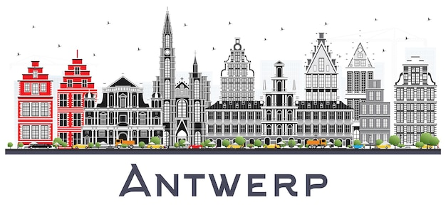 Горизонт города бельгии антверпен с серыми зданиями, изолированными на белом. векторные иллюстрации. деловые поездки и концепция туризма с исторической архитектурой. городской пейзаж антверпена с достопримечательностями.