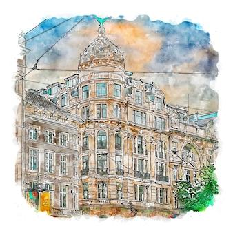 Antwerp belgium watercolor sketch hand drawn illustration