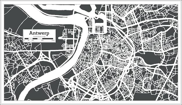 Карта города антверпена в стиле ретро. контурная карта. векторные иллюстрации.