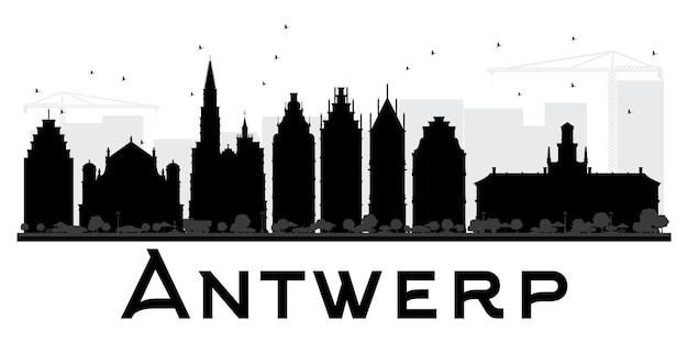 Черно-белый силуэт горизонта города антверпен. векторная иллюстрация. простая плоская концепция для туристической презентации, баннера, плаката или веб-сайта. городской пейзаж с достопримечательностями.