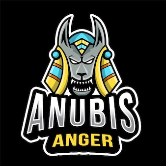 Шаблон логотипа anubis anger esport
