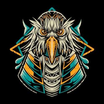 暗闇の中で分離されたアヌビス鳥イラスト