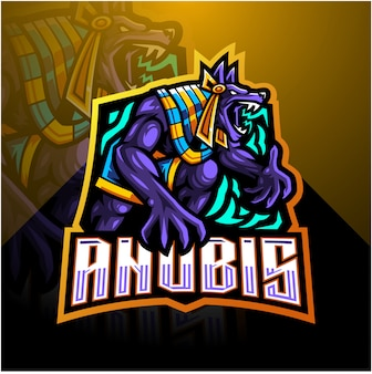 Шаблон логотипа талисмана anubis esport